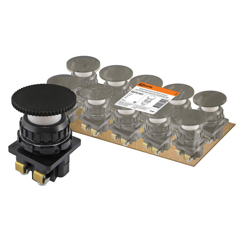 Фото Выключатель кнопочный КЕ 021-У2-исп.3 гриб без фиксации черный 2р 10A 660B IP40 TDM {SQ0753-0021} (1)