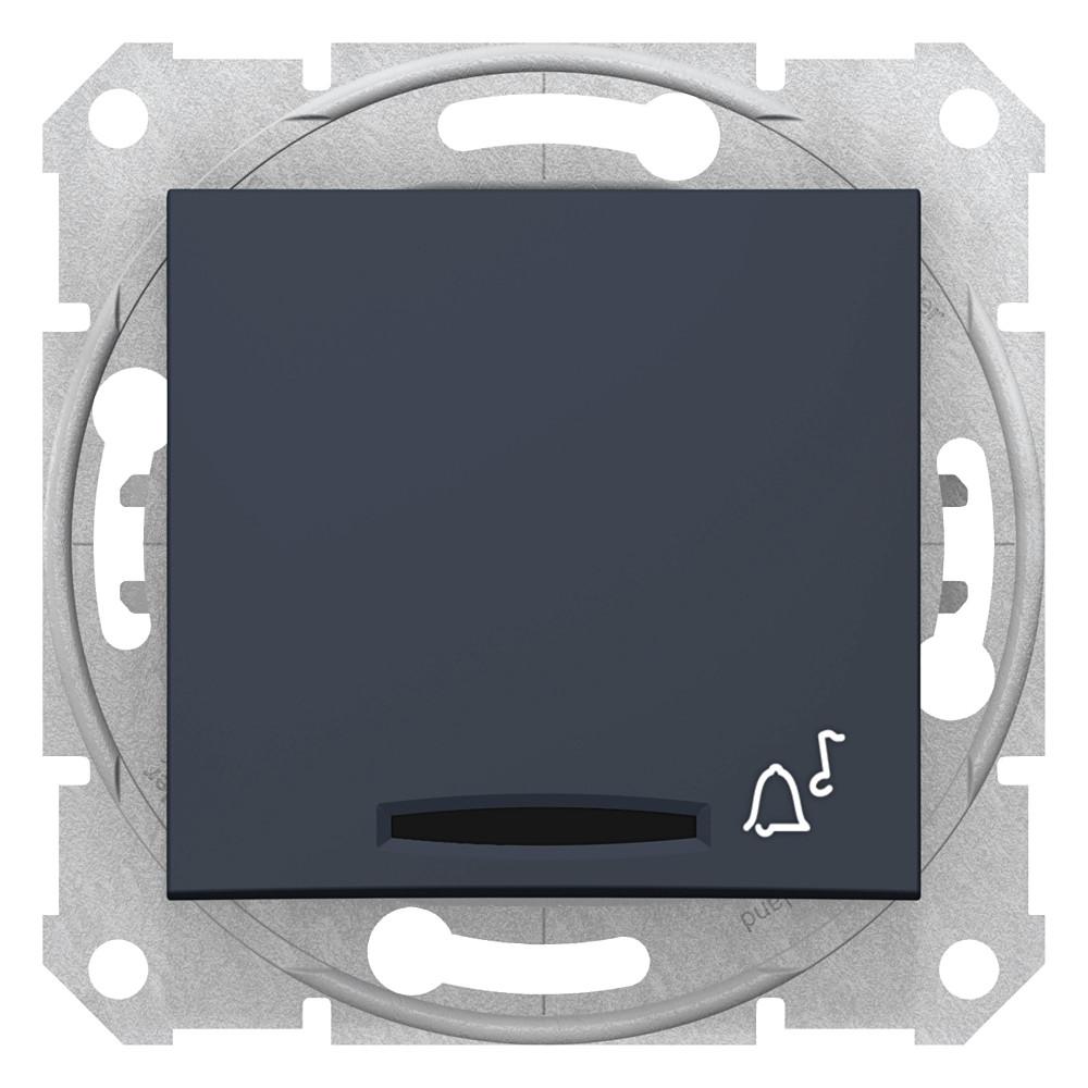 Фото Выключатель кнопочный SEDNA с симв. звонок с подсв., сх.1, 10а, 250в, IP44, графит {SDN1600470}