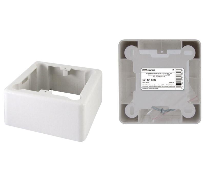 Фото Коробка установочная ОП 85х85х42 мм, 1-местная, подъемная, белая, IP20, инд. штрихкод TDM {SQ1401-0232} (1)