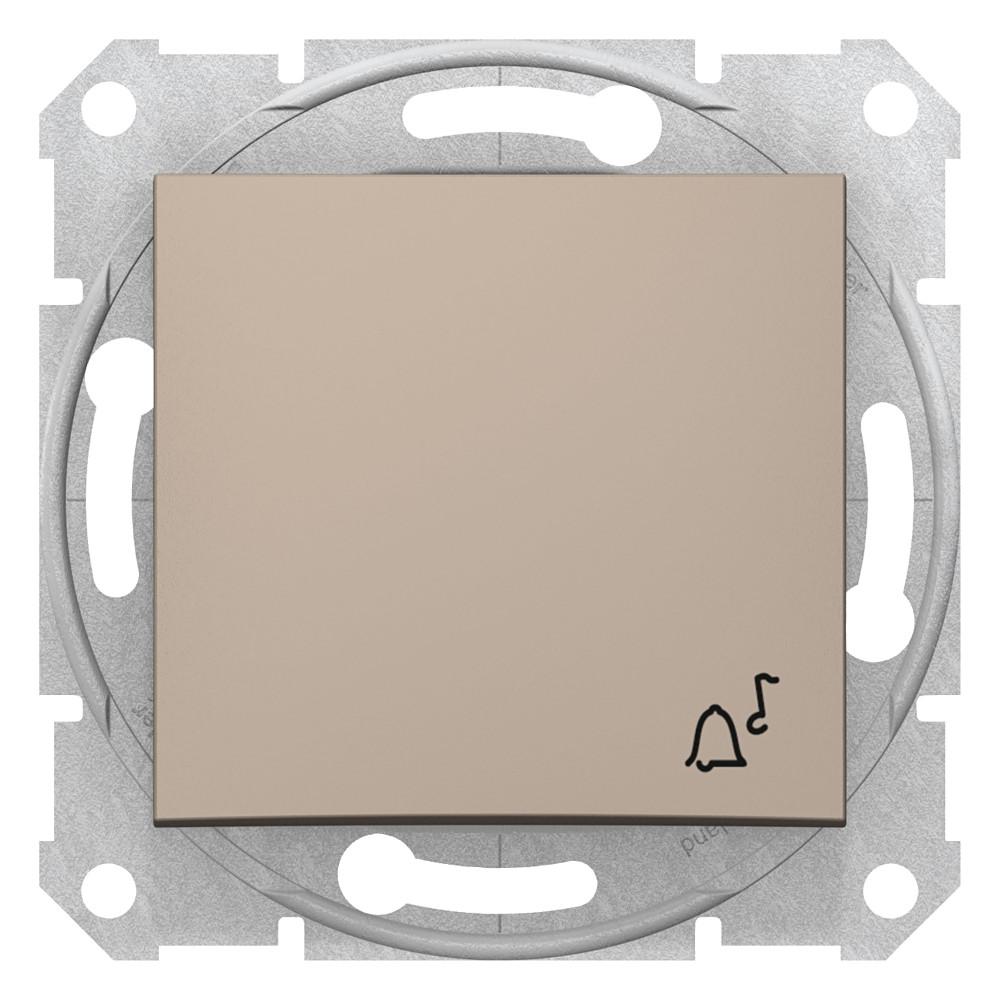 Фото Выключатель кнопочный SEDNA с символом звонок, сх.1, 10а, 250в, титан {SDN0800168}
