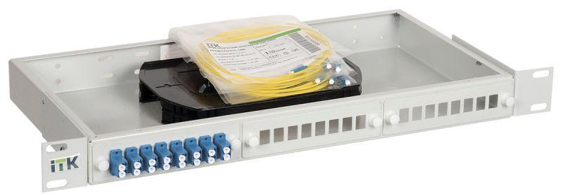 Фото Кросс укомплектованный 1U SC (duplex) 12 портов (OS2) ITK FOBX24-1U-12SCUD09