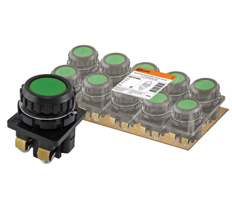Фото Выключатель кнопочный КЕ 011-У2-исп.2 зеленый 1з+1р 10A 660B IP40 TDM {SQ0753-0004} (1)