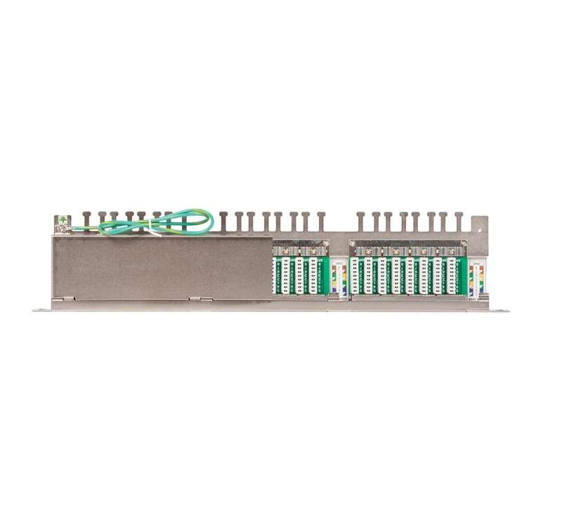 Фото Патч-панель 19дюйм 0.5U 24 порта кат.5e (класс D) 100МГц RJ45/8P8C 110/KRONE T568A/B полный экран с органайзером метал. NIKOMAX NMC-RP24SD2-HU-MT