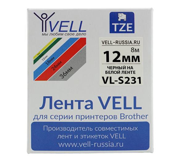 Фото Лента Vell VL-S231 (Brother TZE-S231, 12 мм, черный на белом) для PT 1010/1280/D200/H105/E100/ D600/E300/2700/ P700/E550/970 {VellS231}
