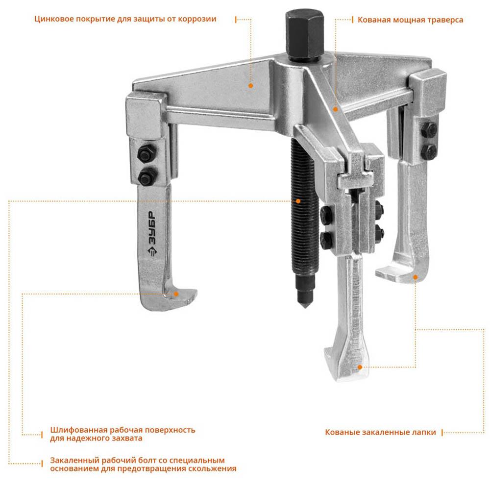 Фото Съемник раздвижной 3-захватный, 90 мм, ЗУБР Профессионал 43312-180-090 (1)