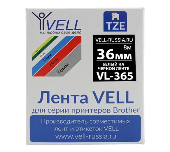 Фото Лента Vell VL-365 (Brother TZE-365, 36 мм, белый на черном) для PT9700/P900W {Vell365}