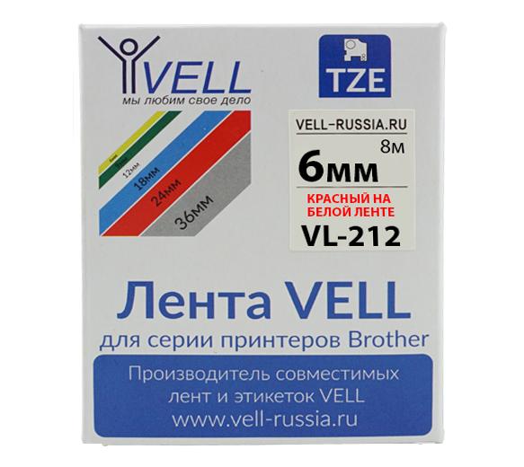 Фото Лента Vell VL-212 (Brother TZE-212, 6 мм, красный на белом) для PT 1010/1280/D200/H105/E100/ D600/E300/2700/ P700/E550/9700 {Vell212}