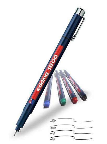 Фото Капиллярная ручка-фломастер Edding для черчения, круглый наконечник, 0,5 мм, синий {E-1800-0.5#3} (2)
