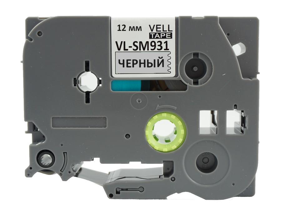 Фото Лента Vell VL-SM931 (Brother TZE-MS931, 12 мм, черный на металлизированном) для PT 1010/1280/D200 /H105/E100/D600/E300/2700/ P700/E550 {Vellsm931} (1)
