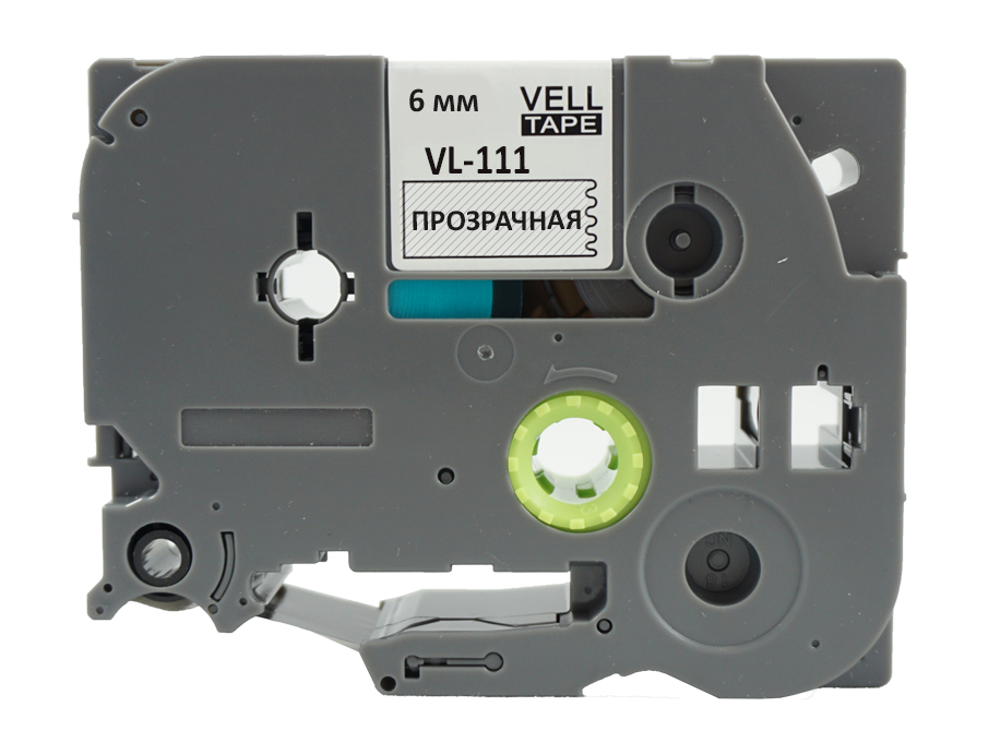 Фото Лента Vell VL-111 (Brother TZE-111, 6 мм, черный на прозрачном) для PT 1010/1280/D200/H105/E100/ D600/E300/2700/ P700/E550/9700 {Vell111} (1)