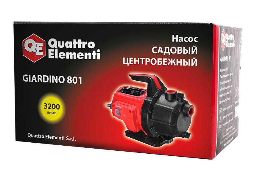 Фото Садовый насос Quattro Elementi Giardino 801 (800 Вт, 3200 л/ч, для чистой, 40 м, 6,9 кг) {645-266} (5)