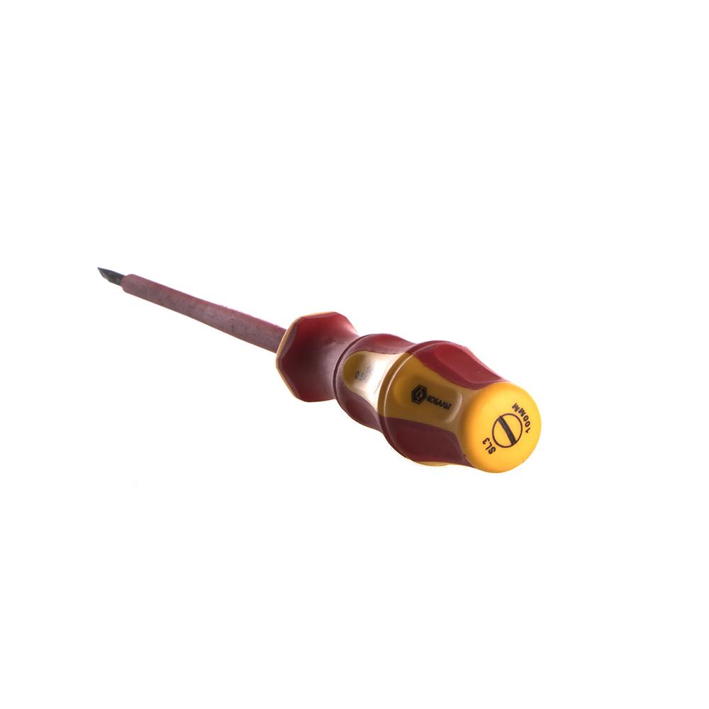 Фото Отвертка диэлектрическая КОБАЛЬТ Ultra Grip SL 3,0 х 100 мм {248-771} (1)