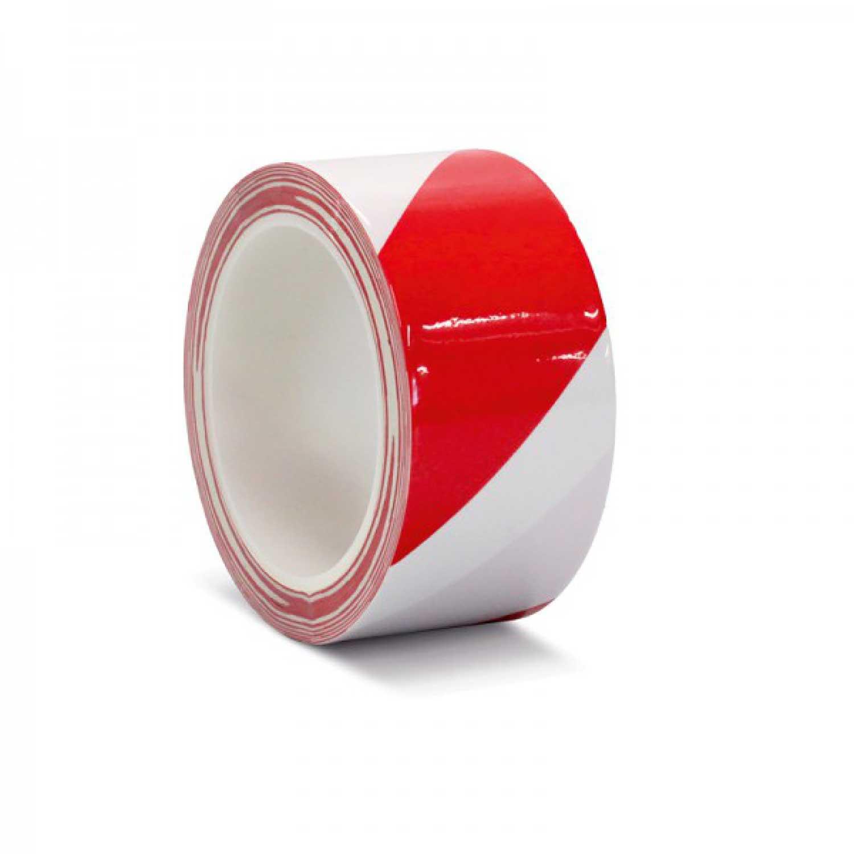 Фото Лента для разметки самоклеящаяся Vell длина 33 м, ширина 75 мм, красно-белая, 0.15 мм, ПВХ (Standart) {KMSY07533}