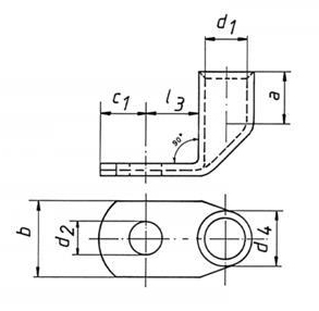 Фото Трубчатый угловой 90° кабельный наконечник Klauke CU 400 мм² под винт М14 {klk54R14} (1)