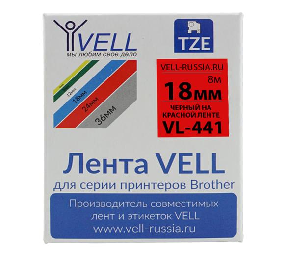 Фото Лента Vell VL-441 (Brother TZE-441, 18 мм, черный на красном) для PT D450/D600/E300/2700/ P700/P750/E550/9700/P900/2430 {Vell441}