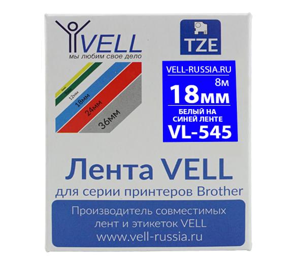 Фото Лента Vell VL-545 (Brother TZE-545, 18 мм, белый на синем) для PT D450/D600/E300/2700/ P700/P750/E550/9700/P900/2430 {Vell545}