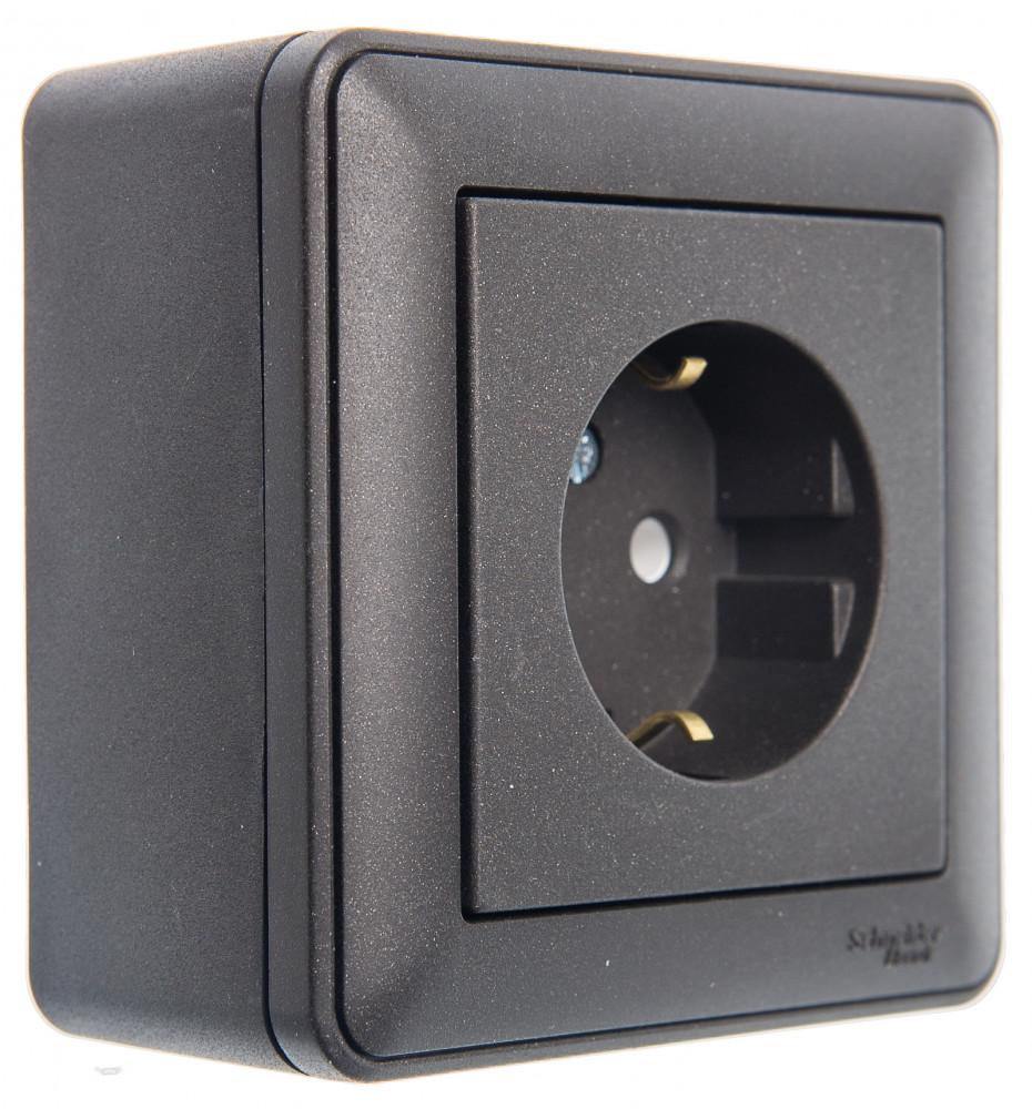 Фото W59 коробка подъемная для наружного монтажа с рамкой 1-местная, черный бархат {KP-152-68}