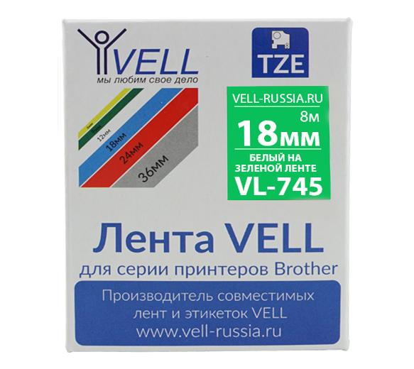 Фото Лента Vell VL-745 (Brother TZE-745, 18 мм, белый на зеленом) для PT D450/D600/E300/2700/ P700/P750/E550/9700/P900/2430 {Vell745}