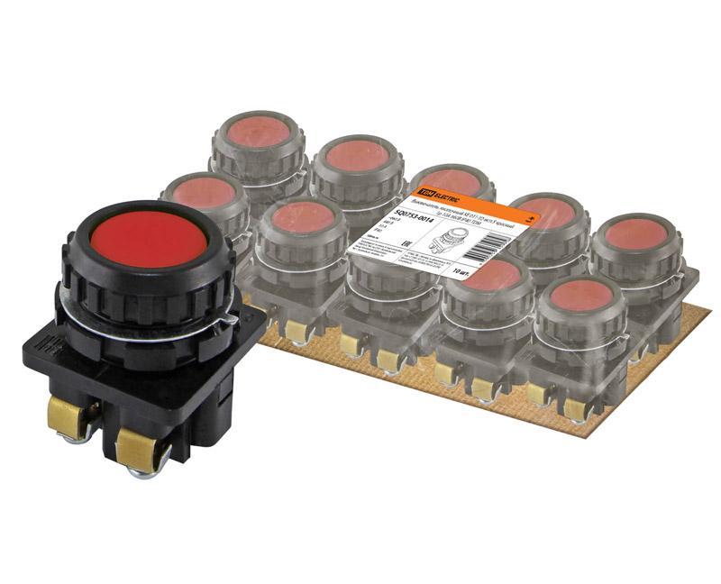 Фото Выключатель кнопочный КЕ 011-У2-исп.5 красный 1р 10A 660B IP40 TDM {SQ0753-0014} (1)