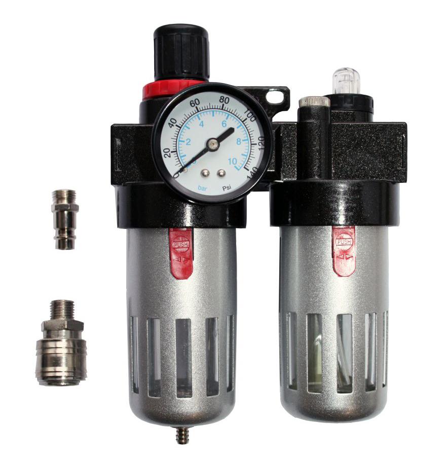 Фото Регулятор давления MF-3, с лубрикатором и фильтром, разъем EURO Quattro Elementi {771-053}