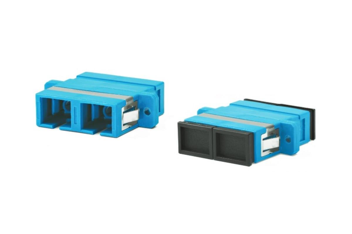 Фото Адаптер проходной FA-P11Z-DSC/DSC-N/BK-BL оптич. SC/UPC-SC/UPC SM duplex корпус пласт. син. черн. колпачки Hyperline 243945