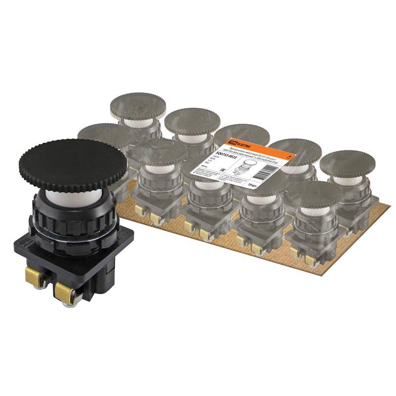 Фото Выключатель кнопочный КЕ 021-У2-исп.4 гриб без фиксации черный 1з 10A 660B IP40 TDM {SQ0753-0023} (1)