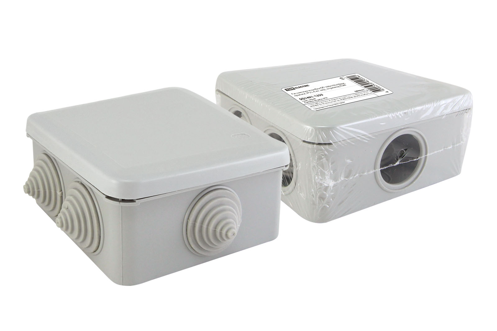 Фото Распаячная коробка ОП 100х100х50мм, крышка, IP55, 6 вх. инд. штрихкод TDM {SQ1401-1255}