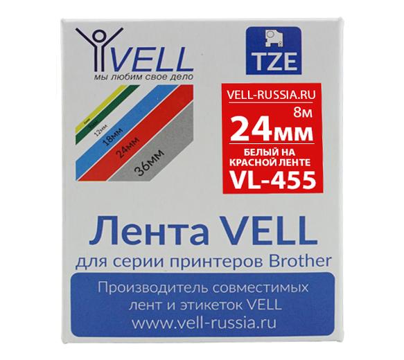 Фото Лента Vell VL-455 (Brother TZE-455, 24 мм, белый на красном) для PT D600/2700/P700/P750/ PTE550/9700/P900 {Vell455}