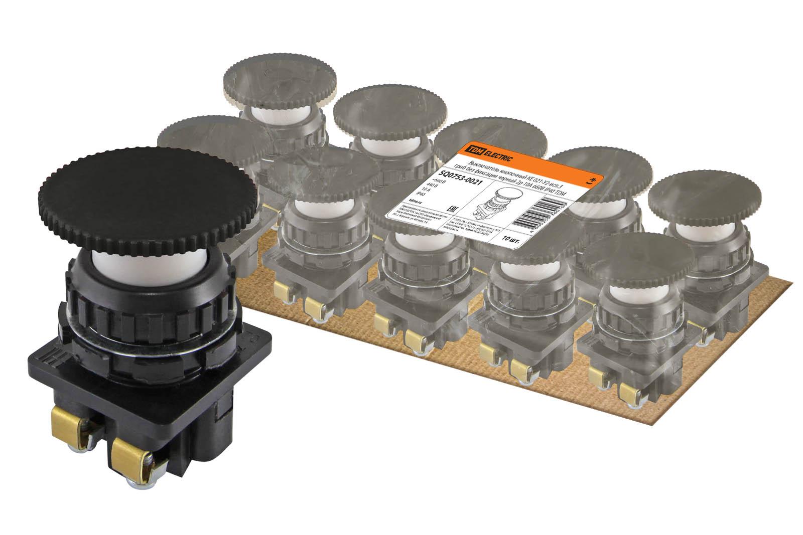Фото Выключатель кнопочный КЕ 021-У2-исп.3 гриб без фиксации черный 2р 10A 660B IP40 TDM {SQ0753-0021}