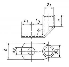 Фото Наконечники медные нелуженые угловые 90 DIN Klauke 120 мм² под винт М14 {klk169R14BK} (1)