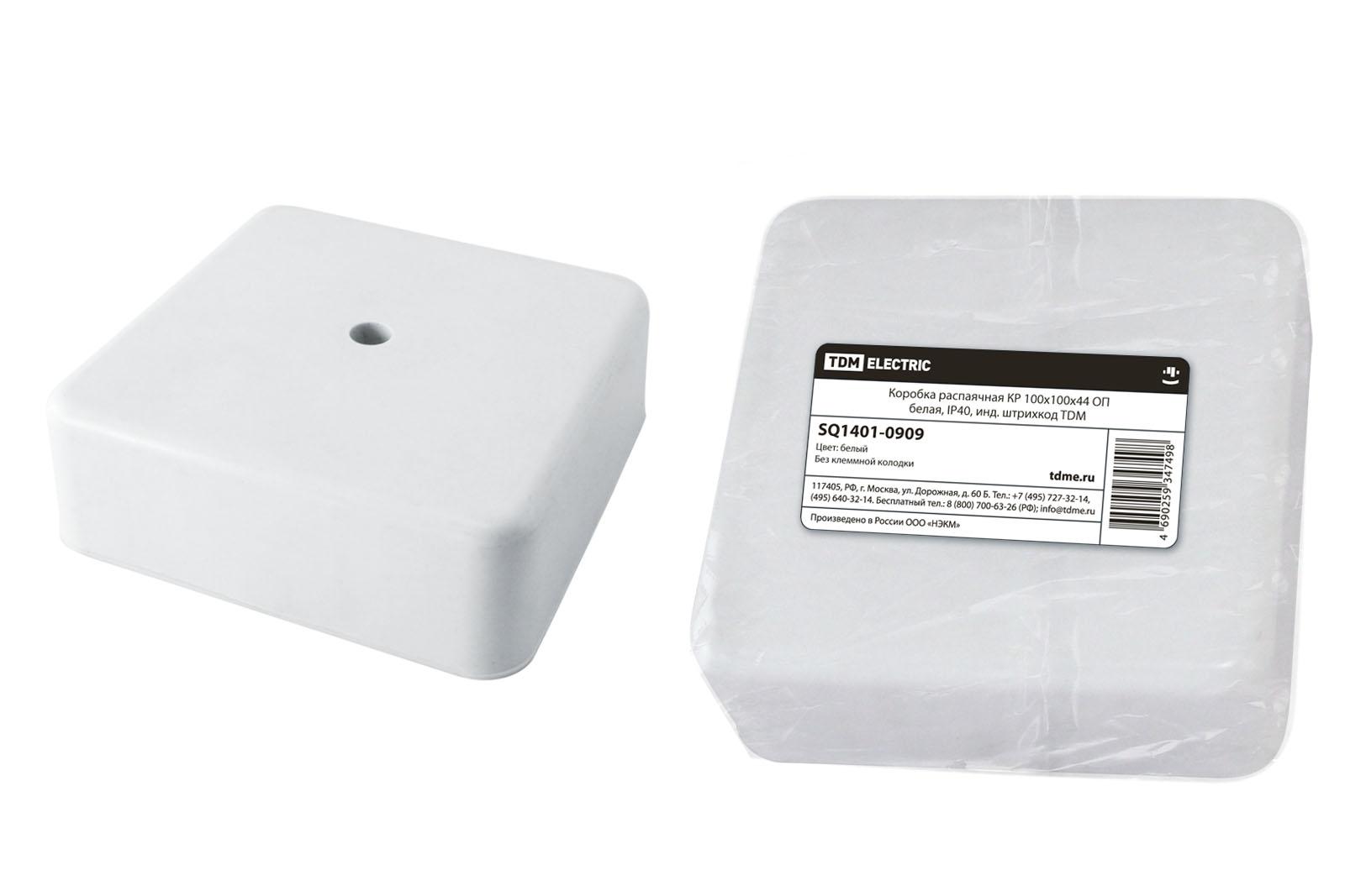 Фото Коробка распаячная КР 100х100х44 ОП белая, IP40, инд. штрихкод TDM {SQ1401-0909}