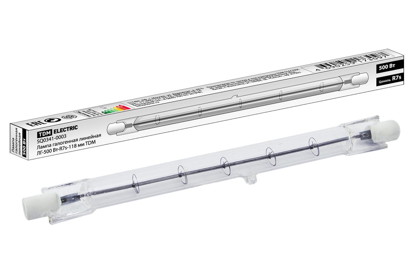 Фото Лампа галогенная линейная ЛГ-500 Вт-R7s-118 мм TDM {SQ0341-0003}