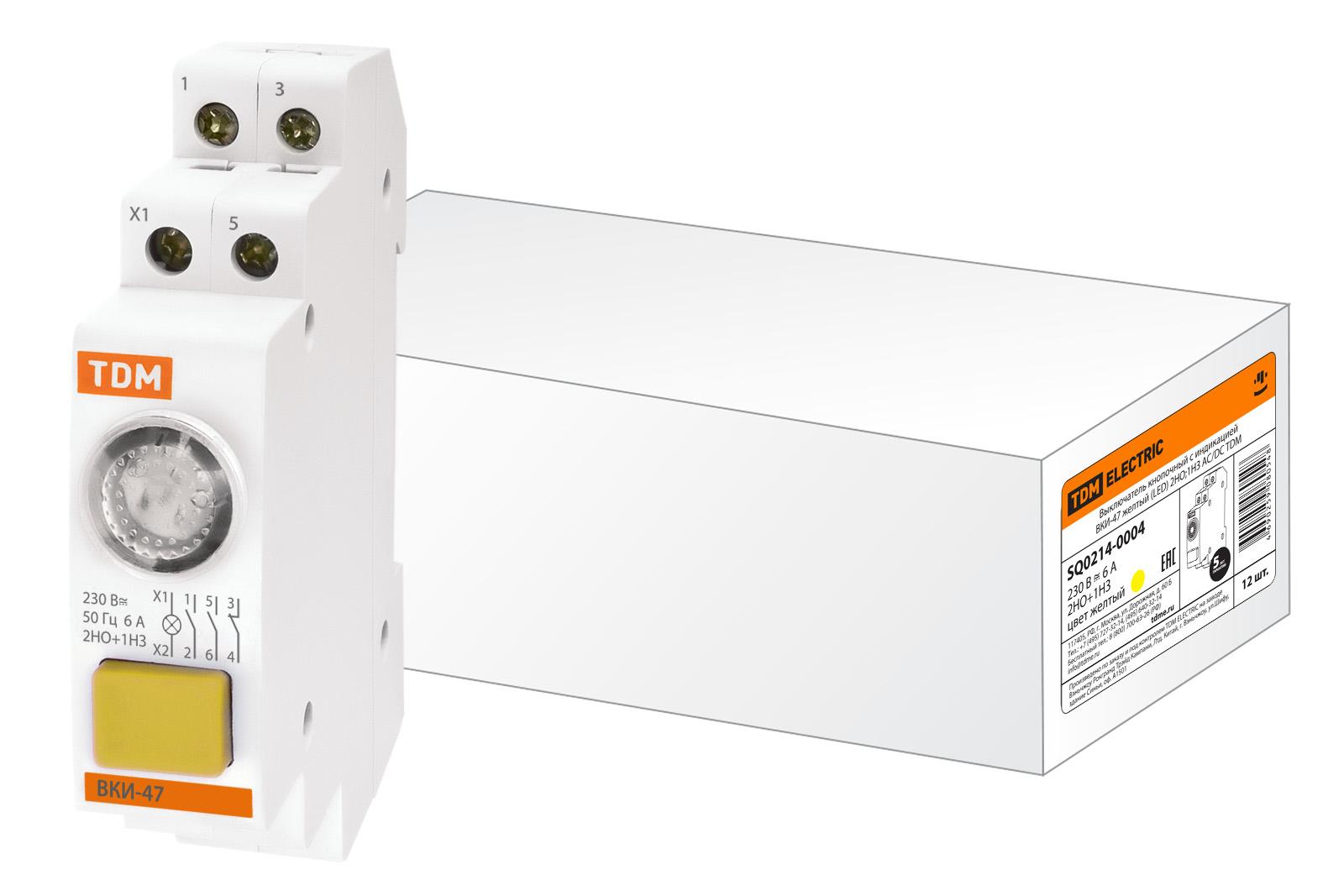 Фото Выключатель кнопочный с индикацией ВКИ-47 желтый (LED) 2НО;1НЗ AC/DC TDM {SQ0214-0004}