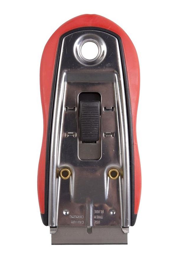 Фото Скребок Rexant с выдвижным лезвием, обрезиненный корпус (5 запасных лезвий в комплекте) {12-4963} (1)