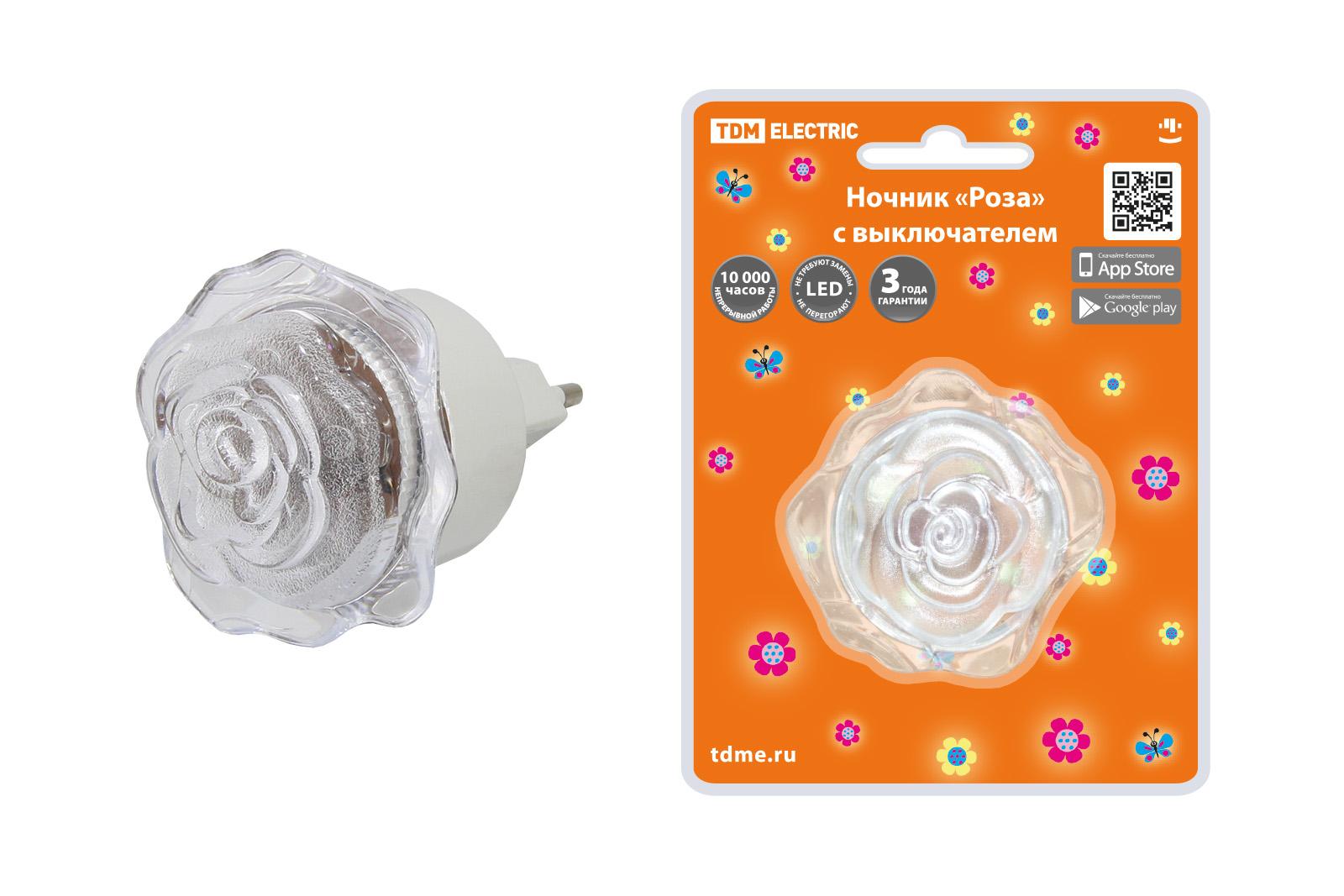 """Фото Ночник """"Роза"""" с выключателем, 0,4 Вт, 220 В TDM {SQ0357-0032}"""