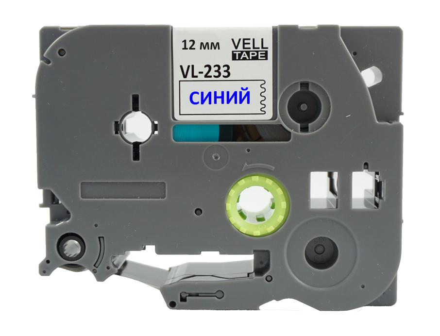 Фото Лента Vell VL-233 (Brother TZE-233, 12 мм, синий на белом) для PT 1010/1280/D200/H105/E100/ D600/E300/2700/ P700/E550/9700 {Vell233} (1)