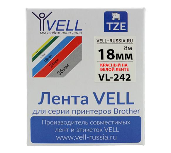 Фото Лента Vell VL-242 (Brother TZE-242, 18 мм, красный на белом) для PT D450/D600/E300/2700/ P700/P750/E550/9700/P900/2430 {Vell242}