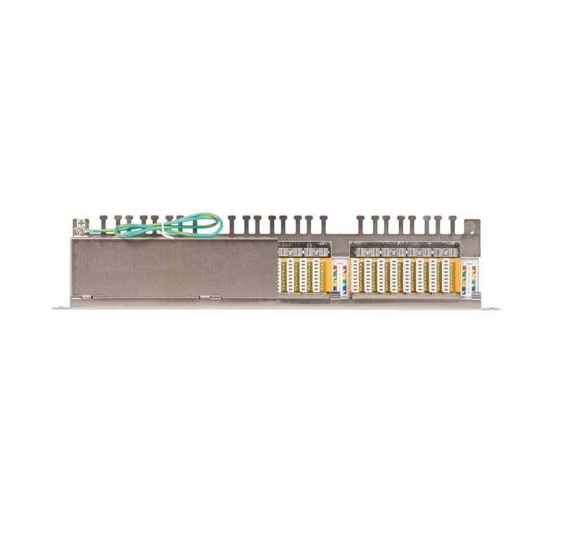 Фото Патч-панель 19дюйм 0.5U 24 порта кат.6 (класс E) 250МГц RJ45/8P8C 110/KRONE T568A/B полный экран с органайзером метал. NIKOMAX NMC-RP24SE2-HU-MT