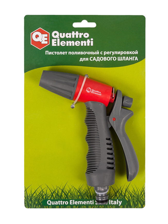 Фото Пистолет поливочный Quattro Elementi 1-режимный, мягкий пластик, регулировка напора {646-140}