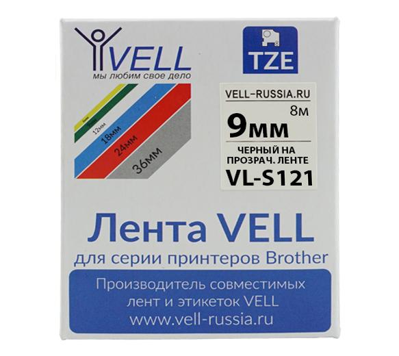 Фото Лента Vell VL-S121 (Brother TZE-S121, 9 мм, черный на прозрачном) для PT 1010/1280/D200/H105/E100/ D600/E300/2700/ P700/E550/970 {Vells121}