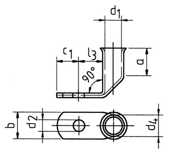 Фото Наконечники медные угловые Klauke для тонкопроволочных особогибких проводов 35 мм² под винт М6 {klk745F6} (1)