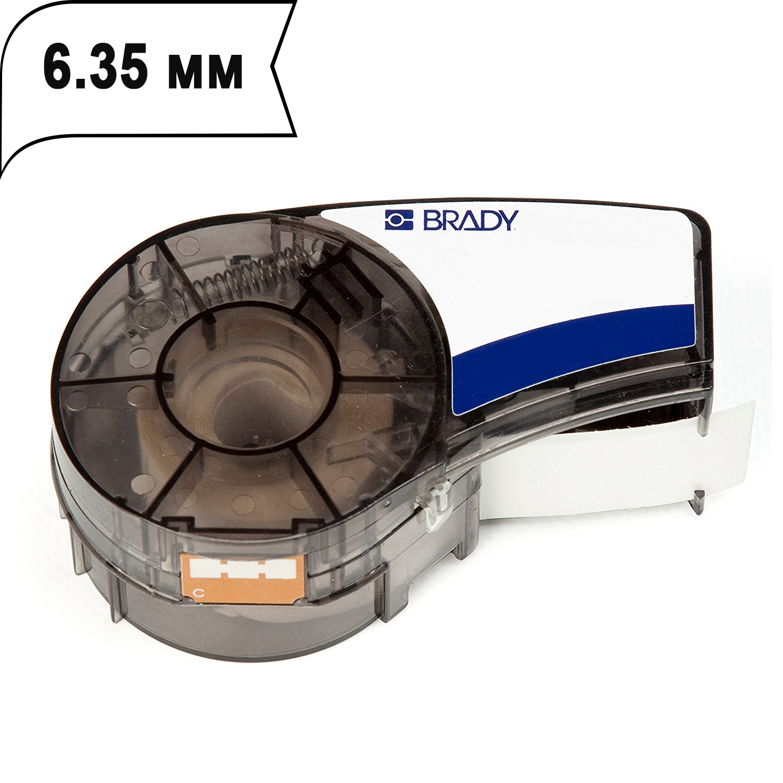 Фото Лента Brady M21-250-423 (6.35 мм, черный на белом/глянцевый) {brd139754}