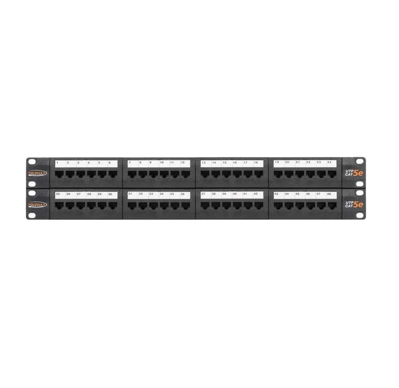 Фото Патч-панель 19дюйм 2U 48 портов кат.5e (класс D) 100МГц RJ45/8P8C 110/KRONE T568A/B неэкран. с органайзерами черн. NIKOMAX NMC-RP48UD2-2U-BK (1)