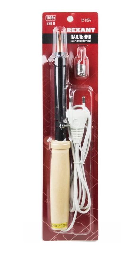 Фото Паяльник ПД Rexant 220 В / 100 Вт, деревянная ручка с припоем {12-0224} (1)