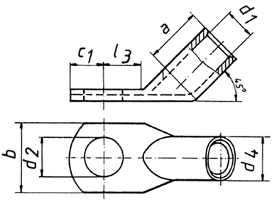 Фото Наконечники медные угловые 45 стандарт Klauke 50 мм² под винт М20 {klk46R2045} (1)