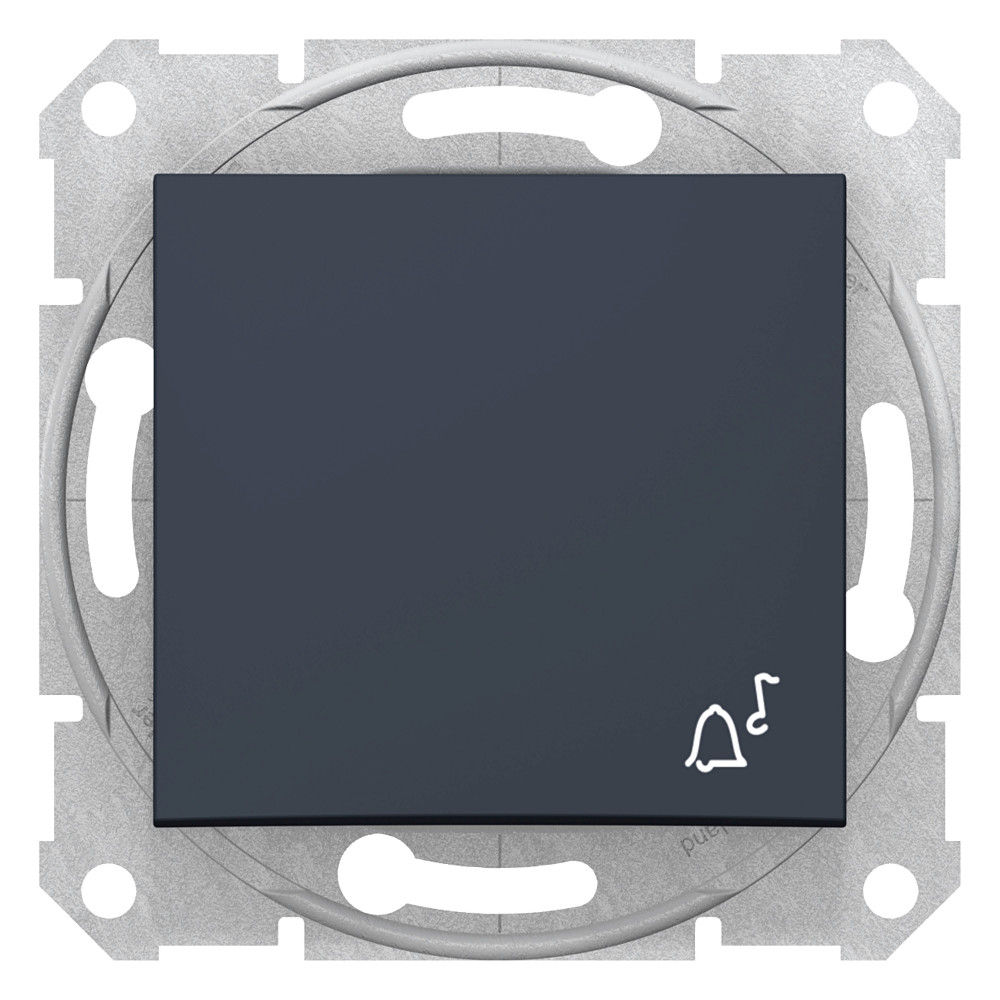 Фото Выключатель кнопочный SEDNA с символом звонок, сх.1, 10а, 250в, графит {SDN0800170}